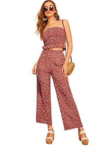 Floerns Women's Strapless Tube Top and Pants Two Piece Set Rust-1 - Set Piece Two