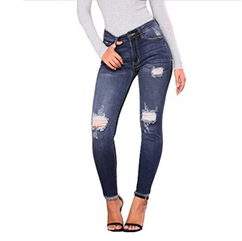 De Huixin Libre Azul Pantalones Holes Mujer Bolsillos Con Oscuro Stretch Casual Ripped Vaqueros Pencil Mezclilla Slim Botón Aire Skinny Al EEfq1