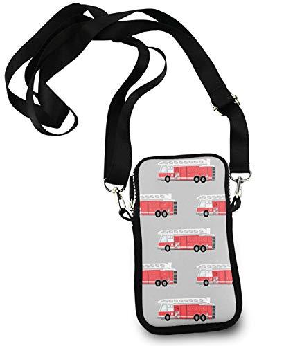 Iphone Riding Multipurpose Carry Case Pouch - Passport, Credit Card Removable Shoulder Strap, Clutch Bag Firetruck Wristlet Convertible Cross Body Bag