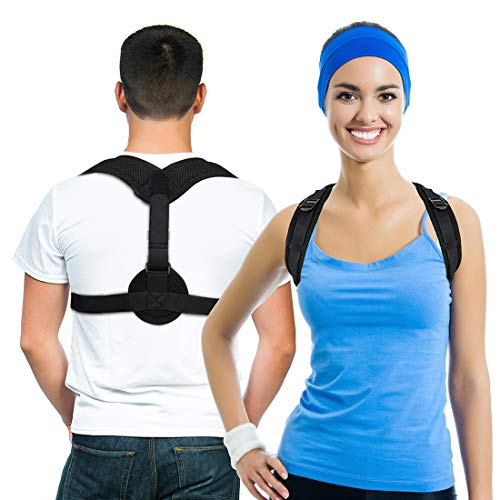 Posture Corrector for Women and Men Back Brace for Posture Correction Clavicle Brace Corrective Front Adjustable for Pain Relief, Slouching & Hunching, Bad Posture Corrector (Black)