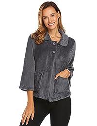 Ekouaer Bed Jacket Women's Sleeve Peter Pan-Collar Button Up Soft Flannel Sleepwear