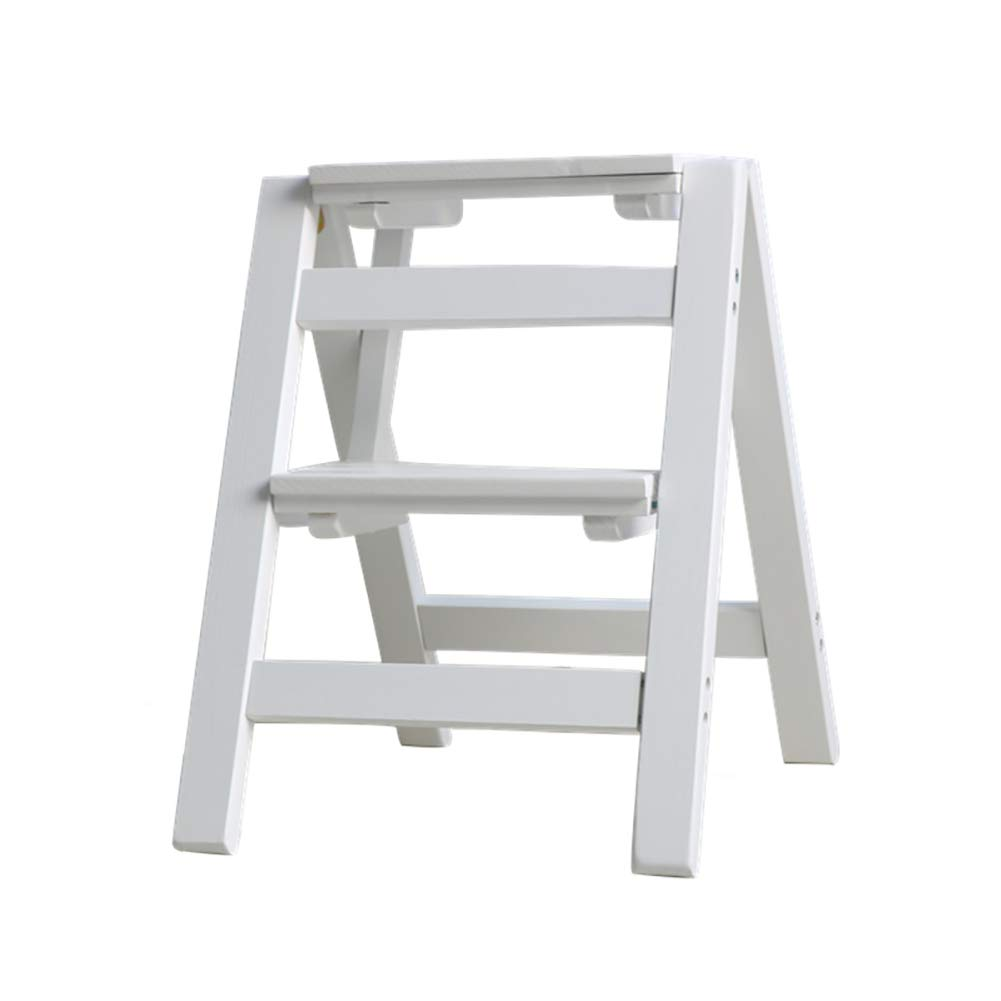 White DNSJB 2 Steps Folding Ladder Stool Multi-Function Dual-use Step Stool Household Stair Chair Solid Wood Step Ladder (color   Black)