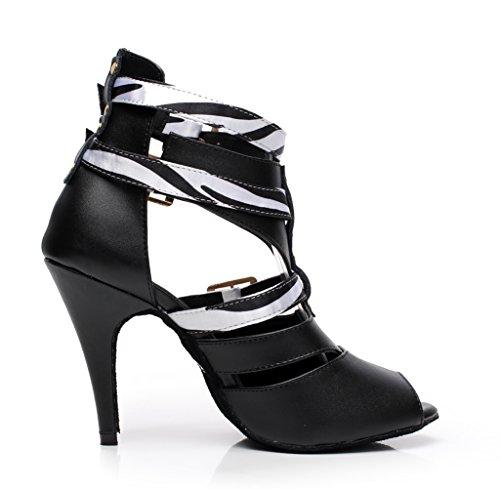 Minishion Qj6178 Da Donna Fibbia Cinturino Alla Caviglia In Pelle Da Ballo Scarpe Da Ballo Latino Bianco