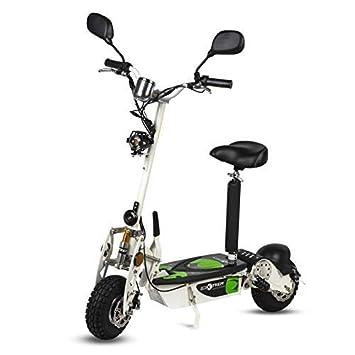 ECOXTREM Patinete, Scooter Tipo Moto Eléctrico, Plegable, con Sillin Desmontable, Luz Foco, luz LED de Freno, Supensión y Claxón. Ideal para ...