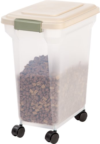 IRIS Premium Airtight Pet Food Storage Container, 22-Pounds,  Almond