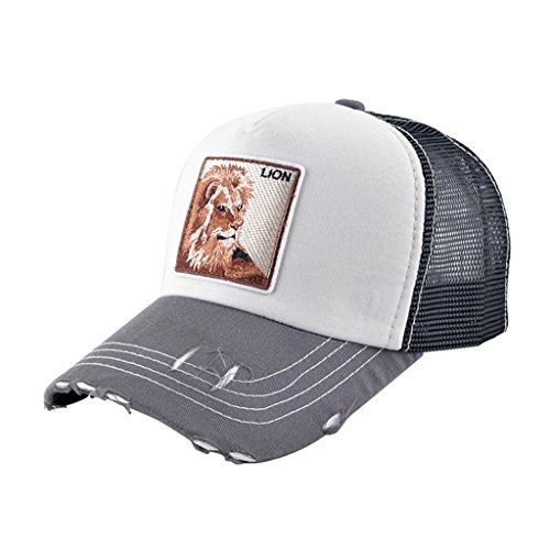Unisex Animal Mesh Trucker Hat Strapback Square Patch Baseball Caps (One Size, Beige Lion)