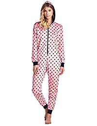 a40f111e49 Women s Fleece Hooded One Piece Pajama Union Jumpsuit