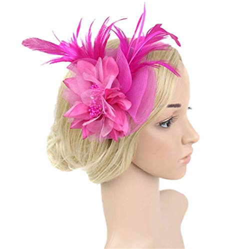 Suma-ma 9 Colors -Women Fashion Wedding Mesh Hat - Wedding Party Penny Ribbons And Feathers Hat