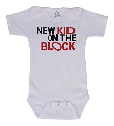 Pressin Unisex-Baby NKOTB White Bodysuit 0-3mths Red/Black Print