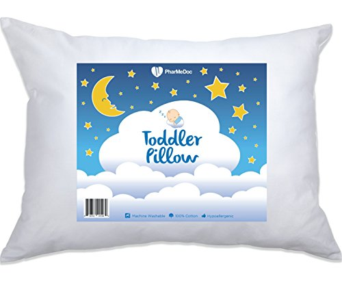 Cot Butterfly - PharMeDoc Toddler Pillow for Children - Hypoallergenic & Breathable Little Pillow - Soft & Delicate Cotton - Provides Back & Neck Support - Portable - Perfect As An Adult Travel Pillow - 14x19