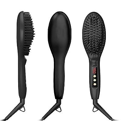 Hhusali Hair Straightener Brush, Ceramic Fast Heating, Fast Natural Straight Hair Styling, Massage Straightening Irons,Anti Scald Comb Teeth
