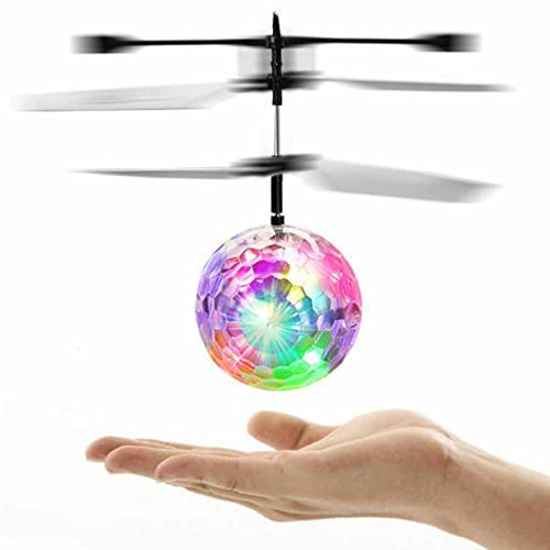 Infrared Induction Helicopter Ball with Rainbow Shinning LED Lights and Remote Control for Kids, Flying Toy for Boys and Girls (Multicolor)