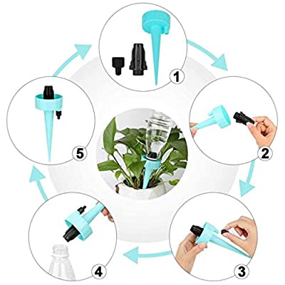 Adjustable Plant Waterer Self Watering Spikes with Slow Release Control Valve Switch,Automatic Watering Device Stake Vacation Houseplant Waterer Cone Flower Water Drip Bottle Irrigation System,Upgrade: Home & Kitchen