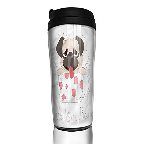 coffee cups holder Pug,Live Love Bark Quote Funny 12 oz,coffee cup charms for bracelets