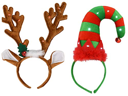 EDS Costumes Christmas Flashing Red Light Up Elf Hat Headband And Antlers (2 pack) -