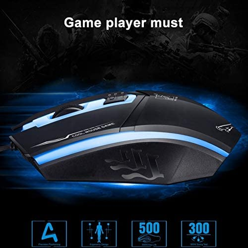 Black New Bluetooth Length: 1.3m Wireless Mouse Keyboard High Performance Wired Mouse199 USB 1600DPI Three-Speed Adjustable LED Backlight Wired Optical Gaming Mouse Color : Black