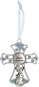 Ganz 4'' Ornate Baby Crib Cross Decor with Ribbon for Hanging (Jesus Loves Me - Blue)