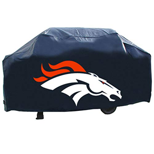 JA 21 X 35 X 68 Inches NFL Broncos Grill Cap Cover, Football Themed Weather Resistant Vinyl Gas Barbeque Smoker Protector, Team Logo Fan Merchandise Athletic Team Spirit Fan, Orange ()