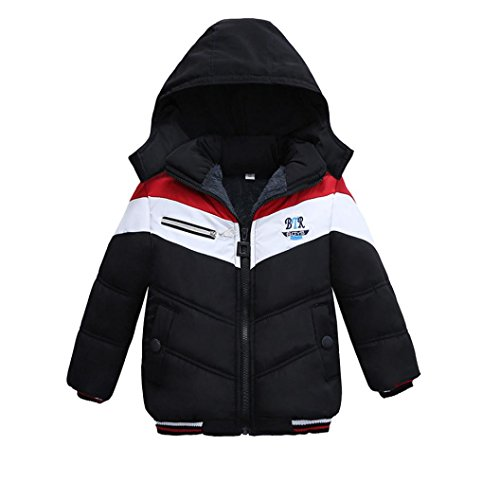 Honhui Fashion Kids Boys Girls Thick Coat Padded Zipper Jacket For Winter (Black, (Boys Puff Jacket)