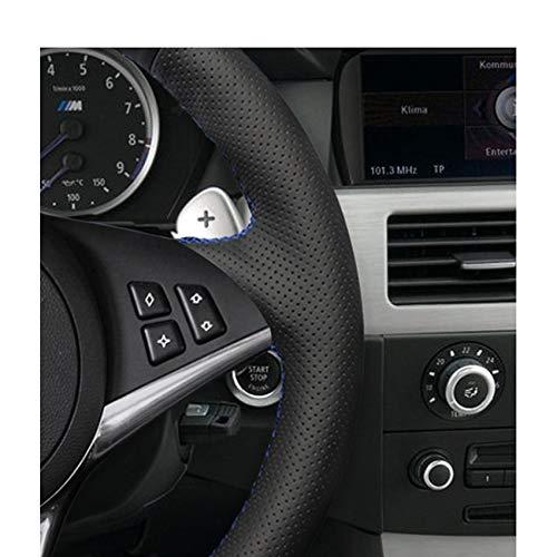 KAIJIFXP Couvre-Volant de Voiture en Cuir Artificiel Bricolage Cousu /à la Main pour BMW E60 E61 Tour 530d E63 2003-2010 E64