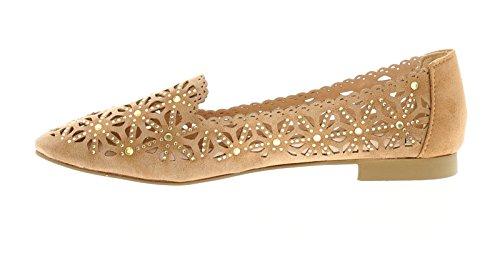 NUEVO de Mujer / MUJER ARENA / Beis Bailarina Estilo ANTIDESLIZAMIENTO Pantuflas Zapatos- Arena- GB Tallas 3-9