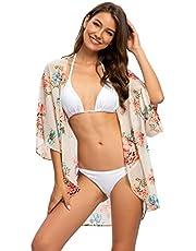 Naivikid Women's 3/4 Sleeve Floral Print Kimono Sheer Chiffon Loose Cardigan S-3XXL