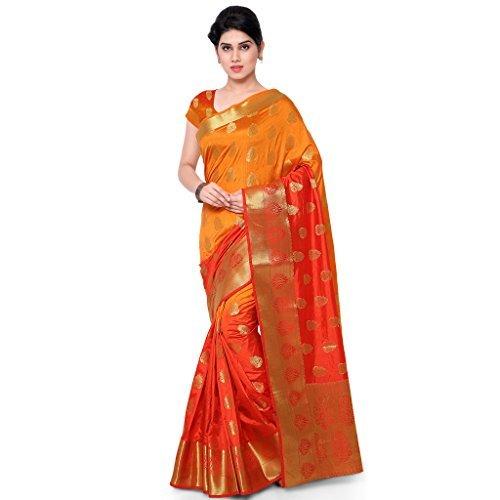 Varkala Silk Sarees Women's Art Silk Banarasi Saree With Blouse Piece_(ND1007ORRD_Orange & Red) by Varkala Silk Sarees