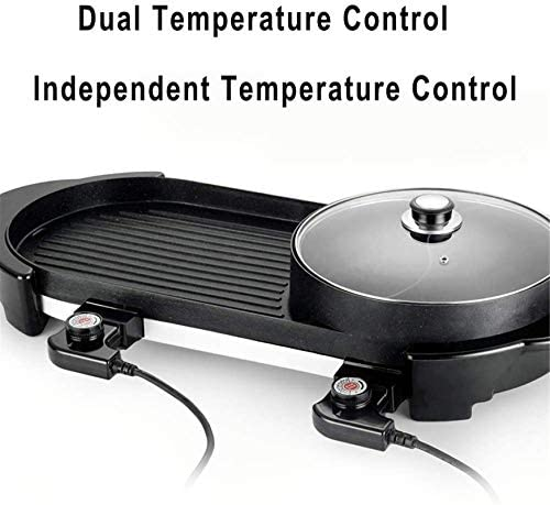YAOSHUYANG Barbecue Et Hot Pot Raclette Le Barbecue électrique Hot Pot Maifan Pierre Multifonction et Hot Pot Table Grill et Fondue avec 1500W Ceramic Coating