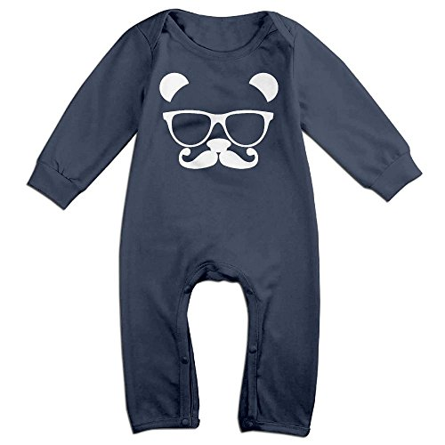Nerd Costume With Overalls (Baby Infant Romper Panda Nerd With Glasses Long Sleeve Playsuit Outfits Navy 6 M)