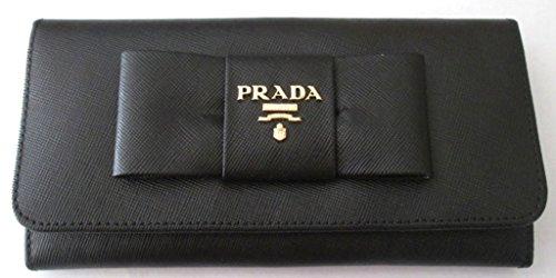 Prada 1M1132 Bowknot Continental Leather Black Wallet