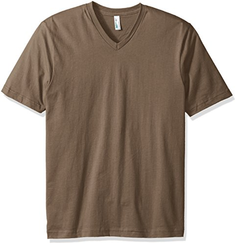 American Apparel Men's Organic Fine Jersey Short Sleeve Classic V-Neck T-Shirt, Walnut, Medium