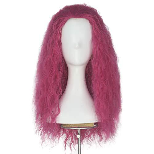 Miss U Hair Unisex Long Curly Hair Party Movie Cosplay Costume Wig Halloween (Shocking pink)]()