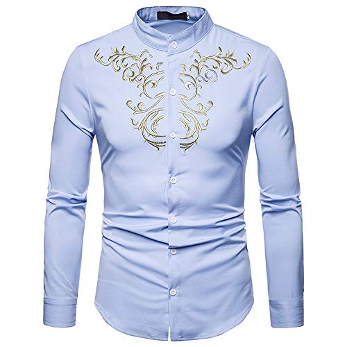 (Hot Zlolia Men's Long Sleeve Casual Luxury Gold Embroidery Shirt Autumn Winter Top Blouse)