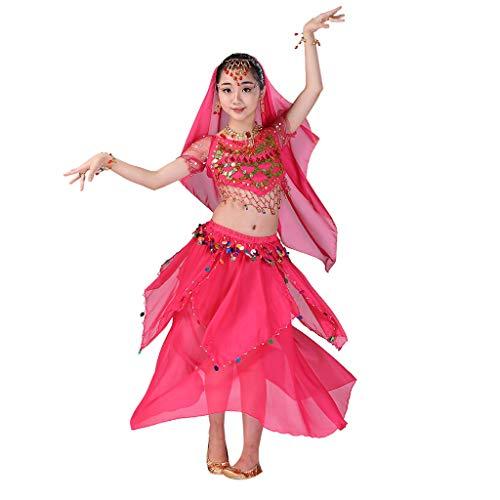 Kids Girls Belly Dance Halter Top Harem Dresses Costume Set Halloween Outfit with Head Veil Waist Chain and Bracelets ()