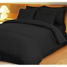 1000 Thread Count Four (4) Piece King Size Black Stripe Bed Sheet Set, 100% Egyptian Cotton, Premium Hotel Quality