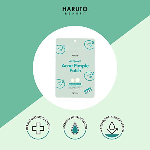 HARUTO BEAUTY Original Acne Pimple Patch -( 92 patches /1Pack), Tea tree, Hydrocolloid spot healing patch, Invisible blemish spot treatment, Absolving sebum quick & easy patches for face