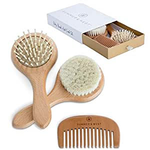 Natural Wooden Baby Brush and Comb Set - Baby Grooming Kit- Best Baby Shower Gifts