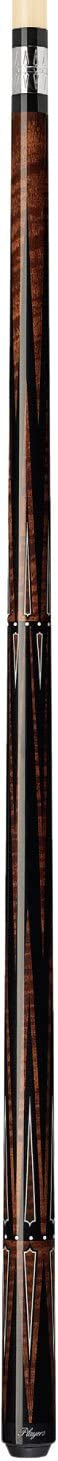 Players Acid A20 Walnut-Stained Maple Black and White Traditional Points Cue with Graphic Snake Wood