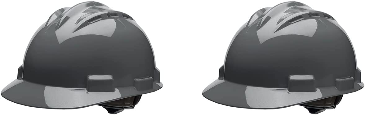 Bullard 62DGR Standard Series Vented Cap Style Hard Hat, 4 Point Ratchet Suspension, Cotton Brow Pad, Dove Grey (Two Pack)