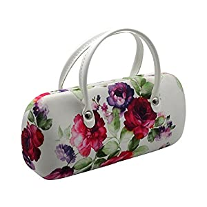 Rachel Rowberry Floral Mini handbag Eyeglass Case with eyeglass cleaning cloth in a unique Microfiber Smooth Finish   for Medium frames Women & Girls (AS12TG Cranberry Rose)