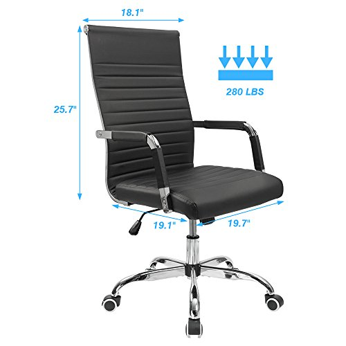 Furmax Ribbed Office Desk Chair Mid-Back Leather Executive Conference Task Chair Adjustable Swivel Chair with Arms (Black) by Furmax (Image #5)