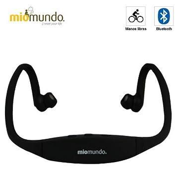 MioMundo - AURICULARES BLUETOOTH SPORT. Libertad de movimientos total gracias a su diseño único y discreto. Color negro .: Amazon.es: Electrónica