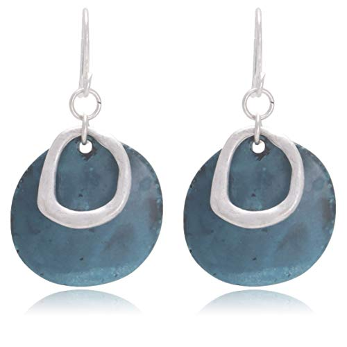 - Vintage Double Layered Rainwater Wave Circle Shaped Two Tone Dangle Drop Earrings for Women