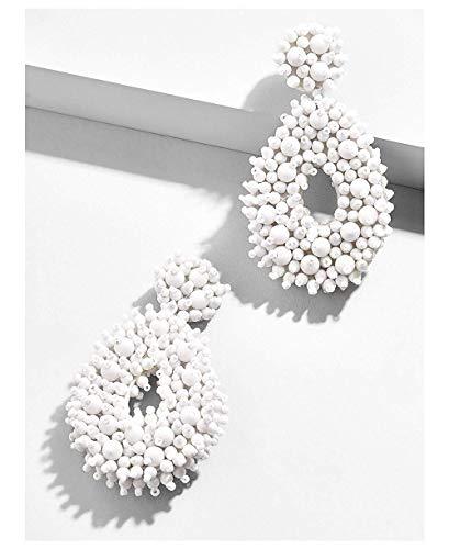 Jewelry Heart Drop Earrings (Statement Earrings - Beaded Round Teardrop Geometric Heart Bohemian Drop Dangle Earrings Gift for Women Girls)