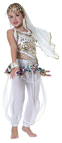 Girls Belly Dancer Costume Halloween Outfits for Kids 3T 4T 4 5 6 7 8 9 12 14 16 White