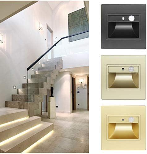 Detector de movimiento + Sensor de luz LED Luz de escalera LED Infrarrojo Cuerpo humano Lámpara de inducción Pasos empotrados Escalera Lámpara de pared 2 piezas (especifique el color al comprar): Amazon.es: