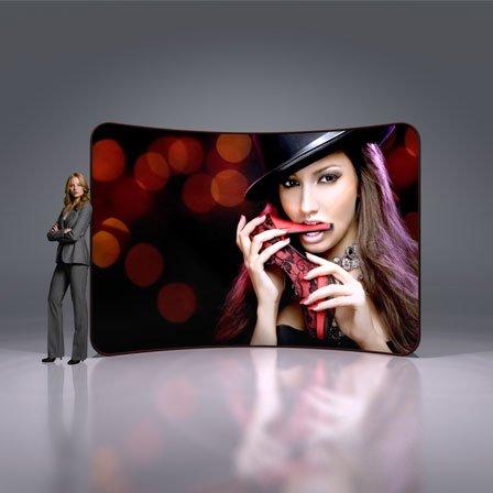 10ft Premium Tension Fabric Display (Curve) - Custom Printed - Full Color - Hardware - Fabric 10' Tension Display