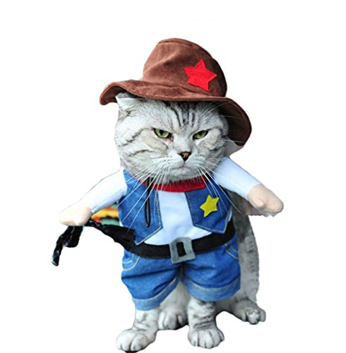Pet Dog Cat Halloween Costumes Cowboy Party Christmas Events Costume West CowBoy Uniform with Hat Funny Outfit Clothing for Cat (S) (Girl Gumby Costume)
