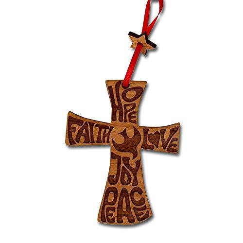 BELLA BUSTA- Cross Christmas Ornament- Hope, Faith, Love, Joy, Peace- Decorative Hanging Ornaments- Engraved and Laser Cut Natural Alder Wood (Cross) (Faith Crosses By)