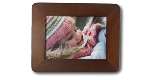 Loui Michel Cie Solid Wood-Wide Round Tabletop/Wall Walnut Finish Picture Frame, 5 x 7